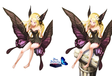 #5 Anime girl Butterfly Render by Butterfly-Blue-B