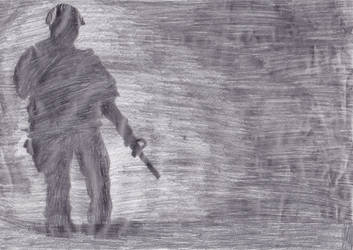 lonely soldier in the dark drawing by me by naruXhinata
