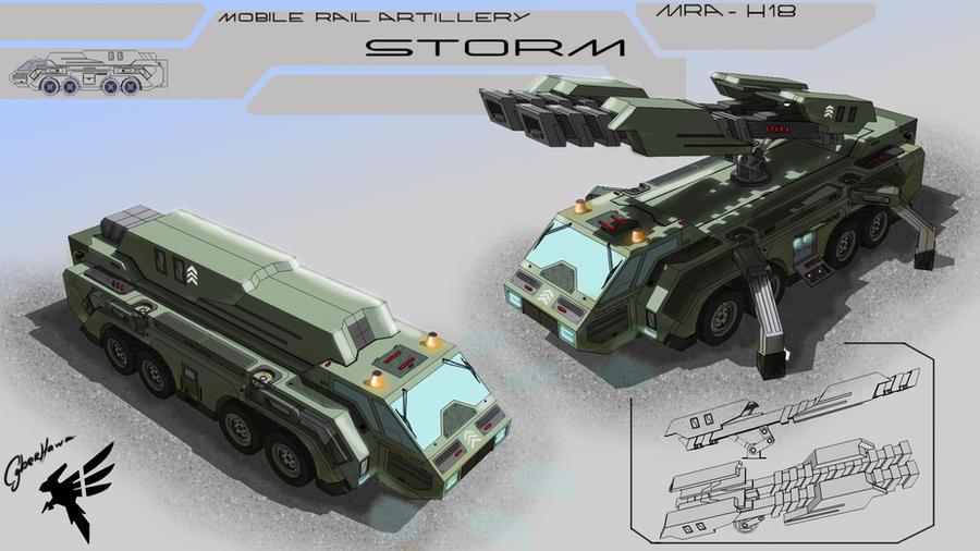 Mobile Rail Artillery by Cyber--Hawk