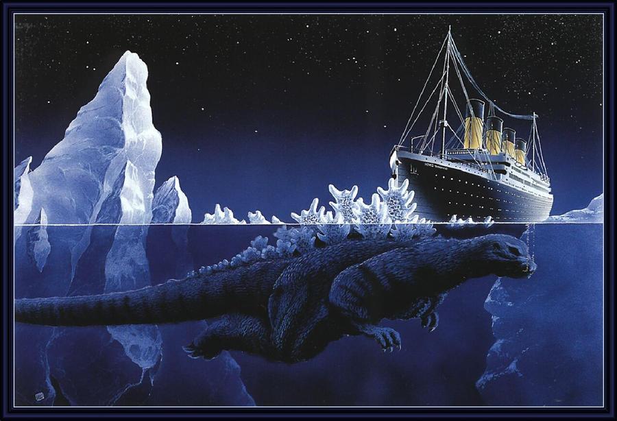 Titanic Ship Hits Godzilla by tentaspyjacksonz