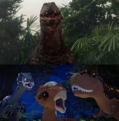 Three Dinosaurs React Godzillasaurus by MnstrFrc