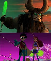 Robin and Starfire vs Kai