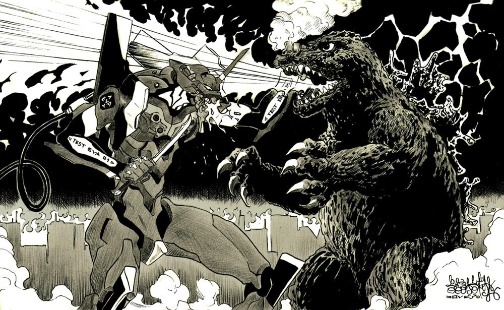 Eva VS Godzilla by garnabiuth