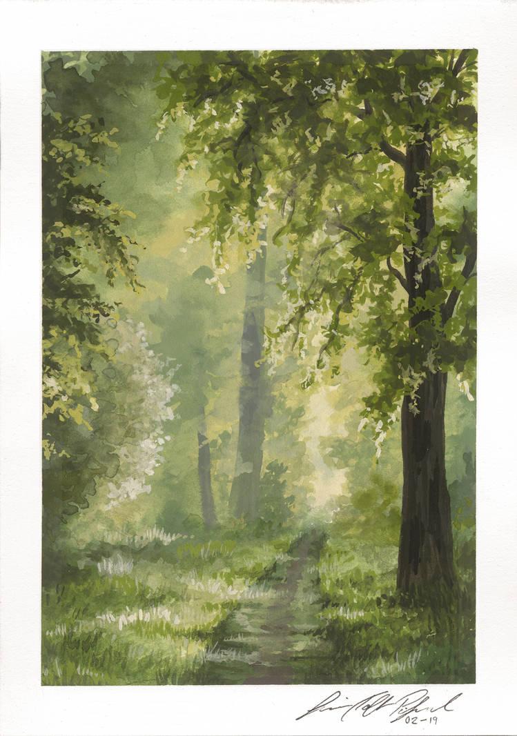 Gouache landscape study by ToftPilgaard
