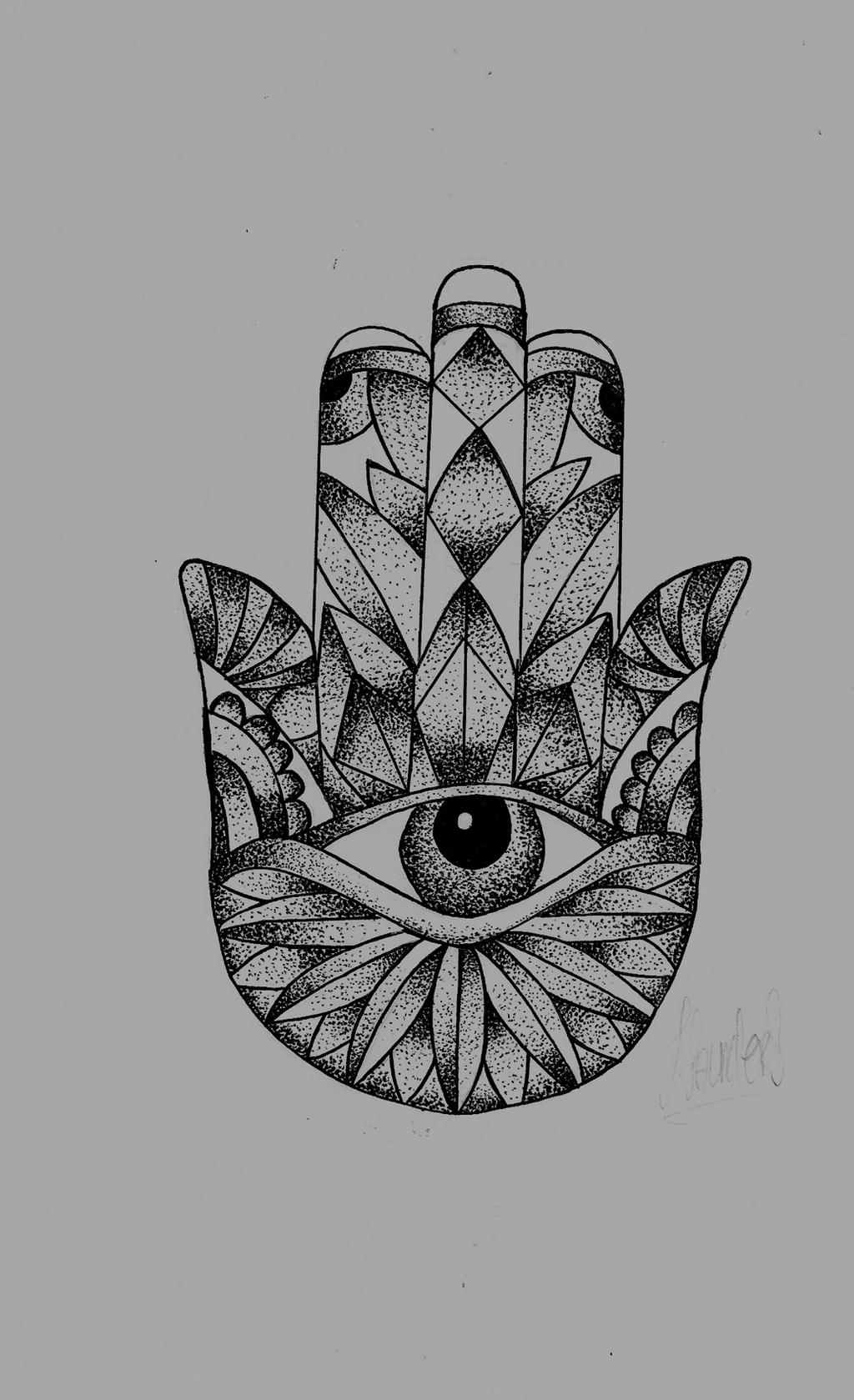 Hamsa Hand Dot Work By Jacksaundersartist