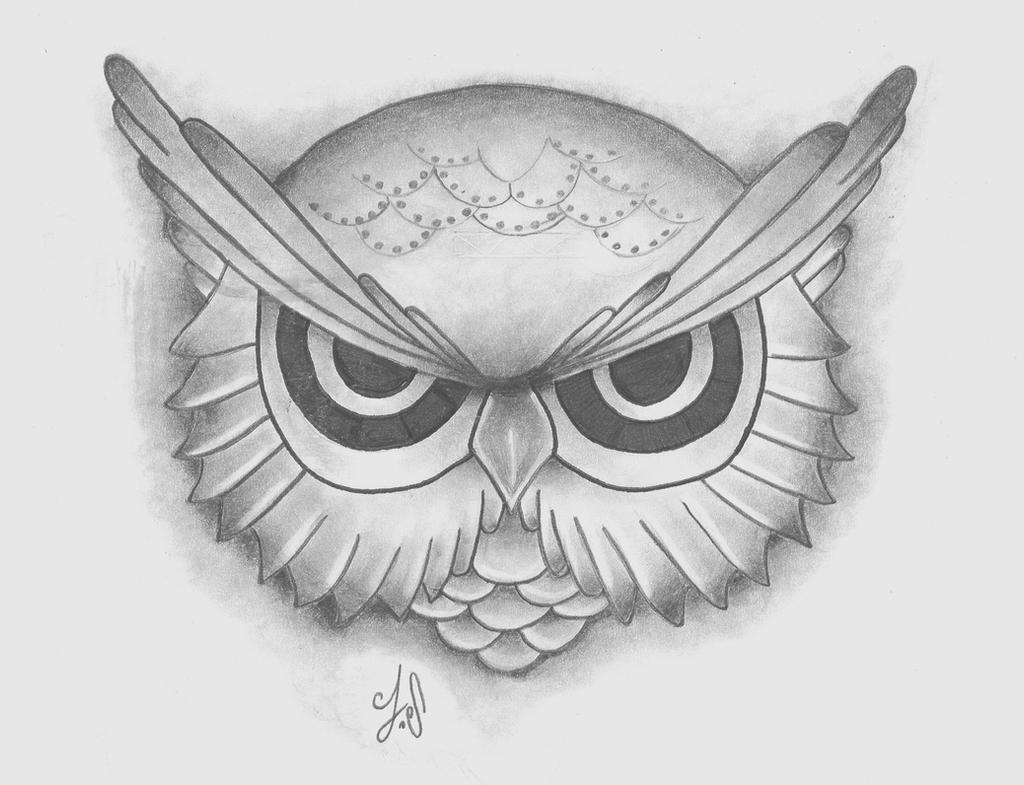 Owl pencil drawing by jacksaundersartist on deviantart for Draw an owl in two steps