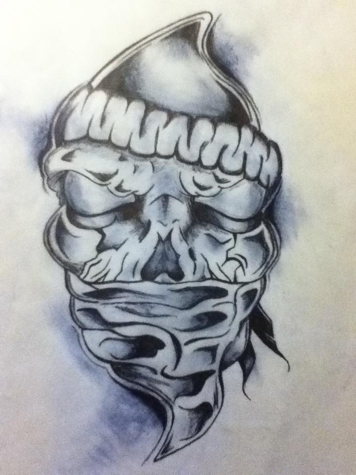 Skull with Bandana Tattoo