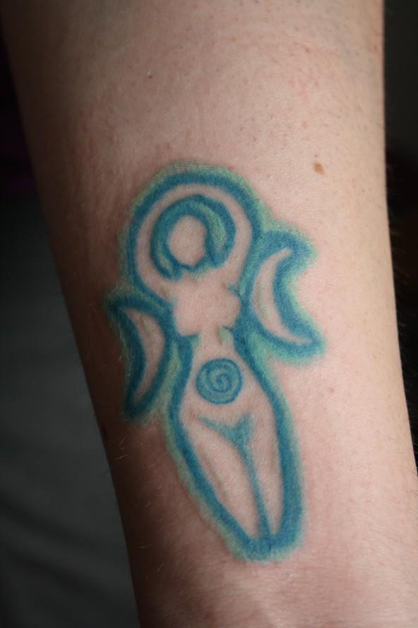 Spiral Moon Goddess Tattoo