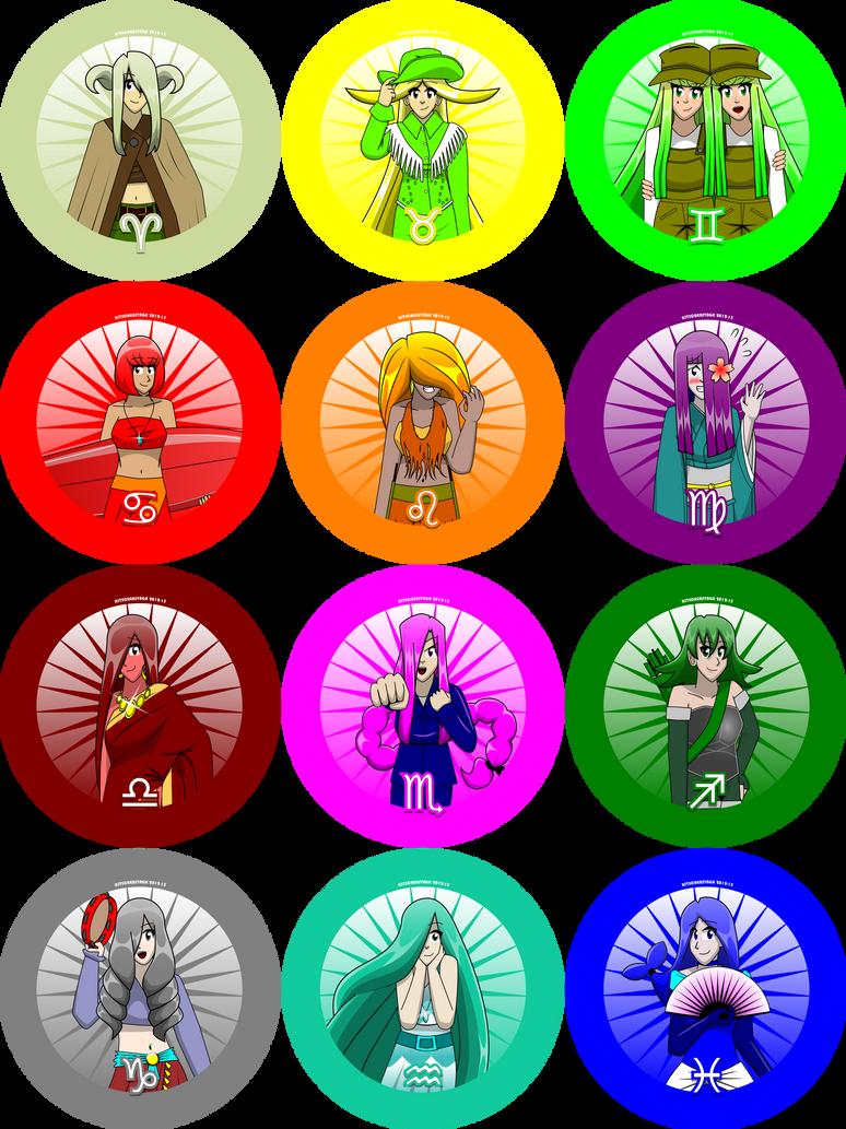 Zodiac Girl Buttons by Kitschensyngk