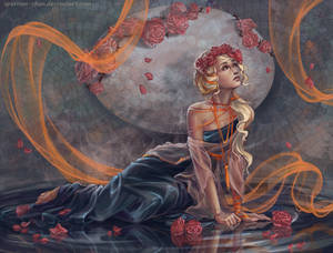 Art nouveau girl in roses