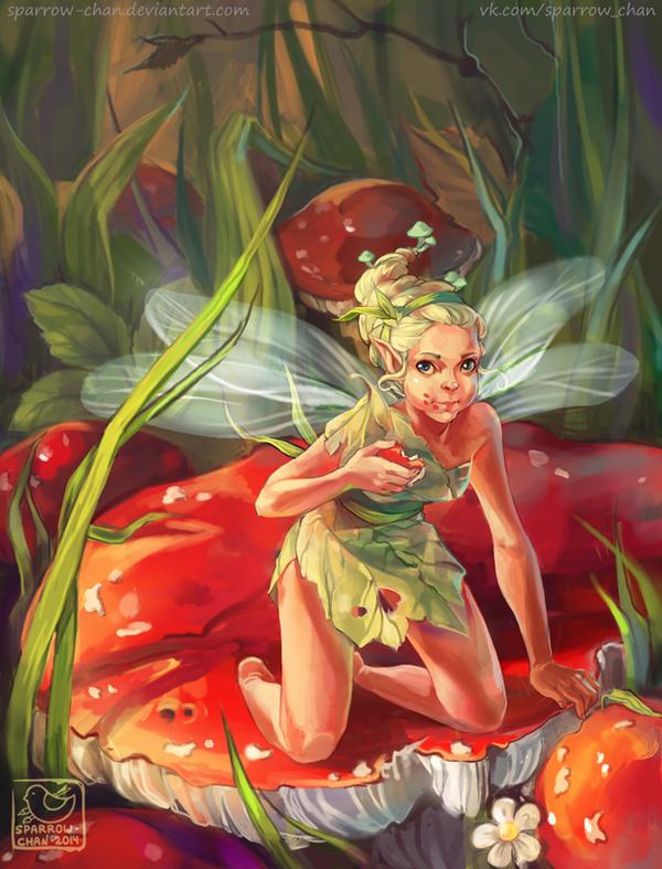 Mushroom fairy by sparrow-chan