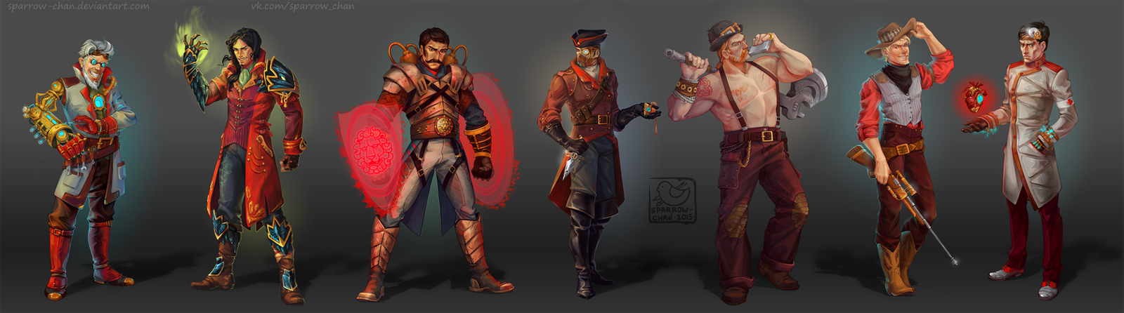 Steampunk characters by sparrow-chan
