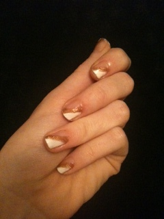 White and Gold Nails by famoustoast
