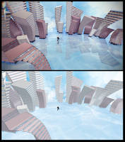 MMD Stage DL | Water, sky and distorted building