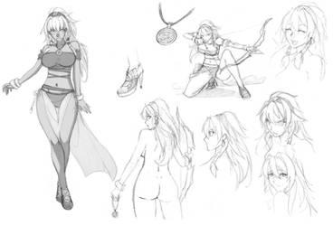 Aziza Hawk of the south design sketch by Devil-V