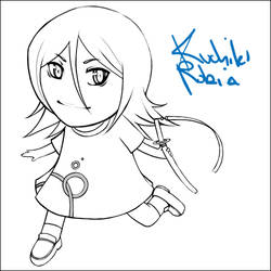 Chibi Rukia of d00m - Lineart by kimiko
