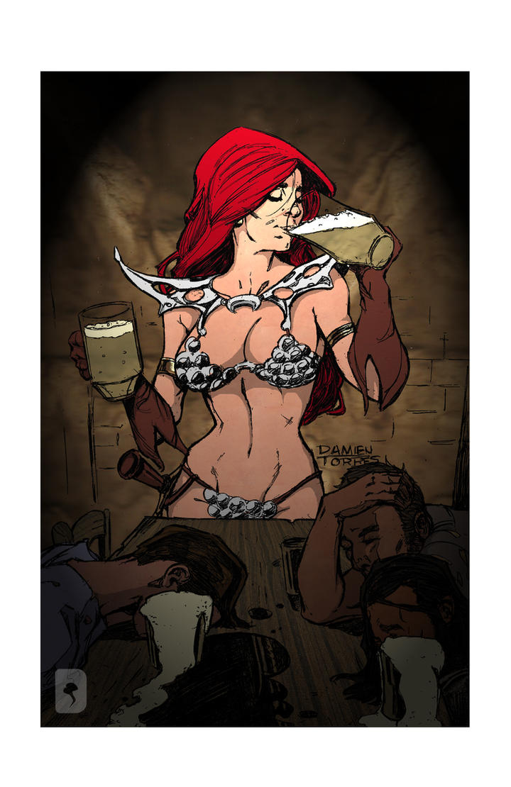 red sonja drinking by dtor91- Color by mdbruffy
