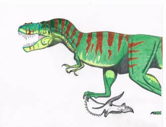 T.Rex. Treeline camo. Foot on skull by Artwalker-67