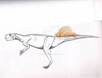 Fringe tail Psittaocsaurus. scan 1 by Artwalker-67