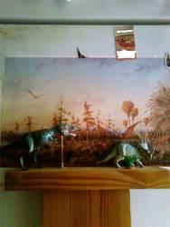 Gorgo stalks Styraco! Simple diorama no.3 by Artwalker-67