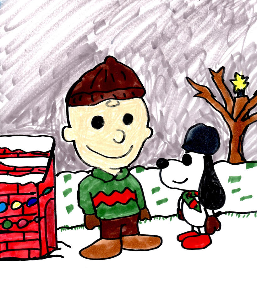 Charlie Brown and Snoopy in the Snow by SonicClone