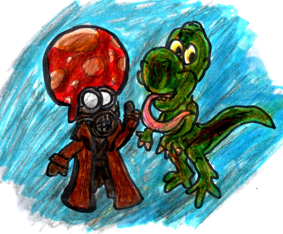 Toad and Yoshi by SonicClone