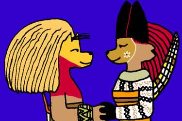 Adult Simbarudy and Fionala by DeckardCanine