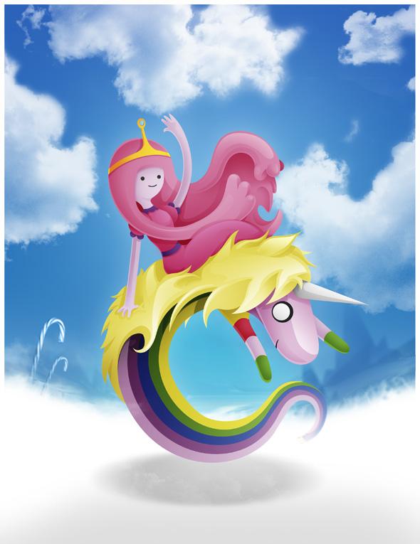 Princess B and Lady rainicorn (Adventure time) by Adnilustra
