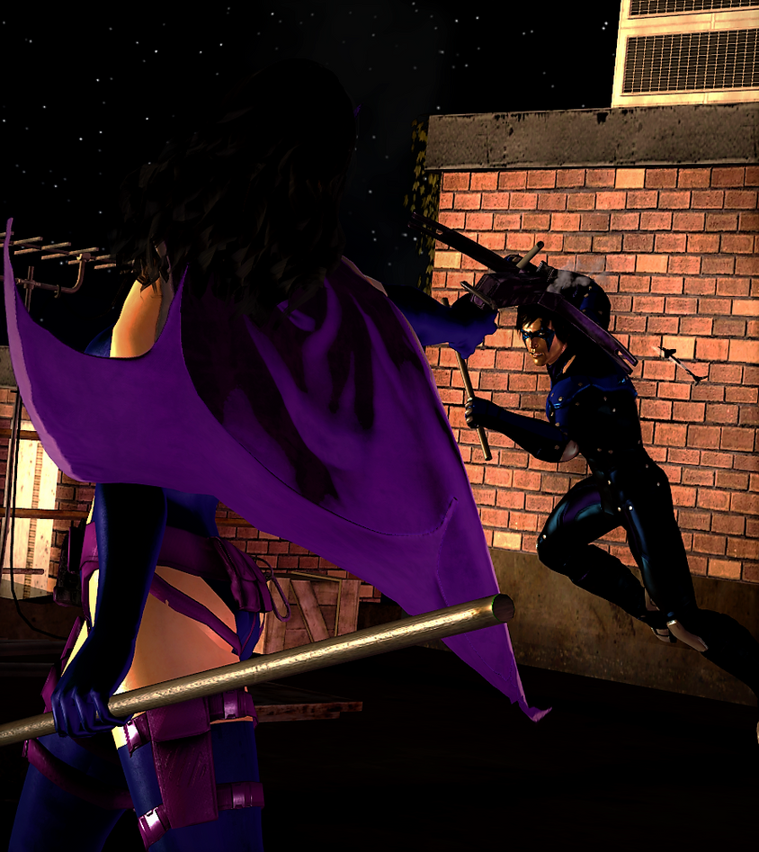 Huntress vs Nightwing by tanyaSum