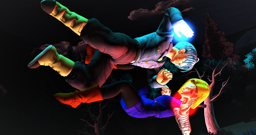Android 18 vs Trunks by tanyaSum