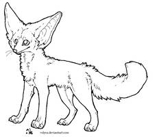 Fennec fox lineart 2 by Velyra