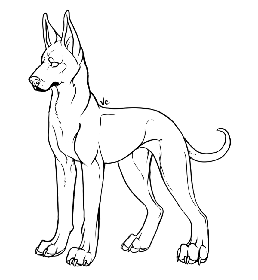 Great dane lineart by velyra on deviantart for Great dane coloring pages