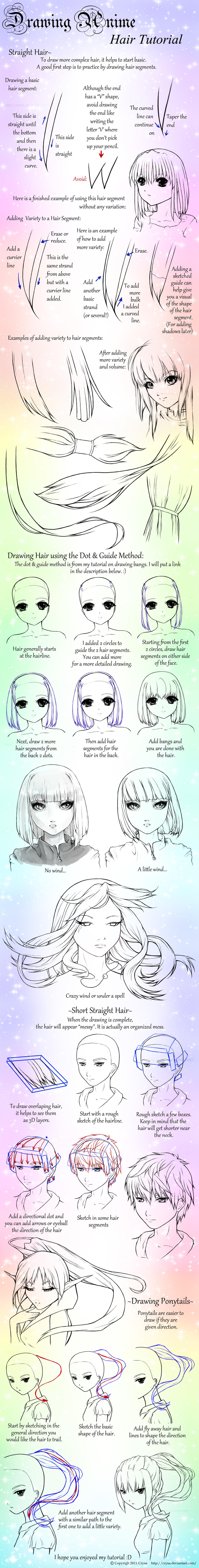 Drawing Anime: Straight Hair and Ponytails by Crysa