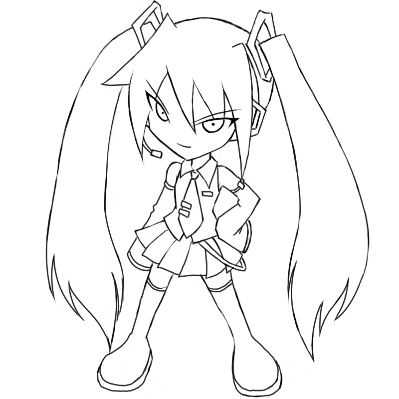 Hatsune Miku Lineart By Qrullgx13 On Deviantart Hatsune Miku Coloring Pages