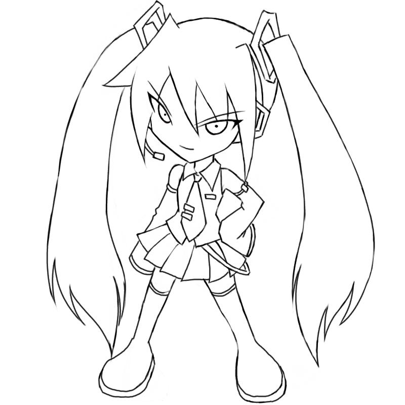 hatsune miku coloring pages - Hatsune Miku Chibi Coloring Pages