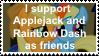 Applejack and Rainbow Dash as friends by KittyJewelpet78