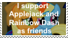 Applejack and Rainbow Dash as friends by KittyJewelpet78