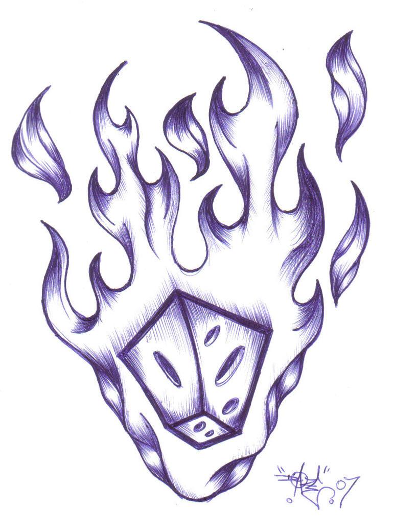 Flaming Dice Drawings By Spaceraida