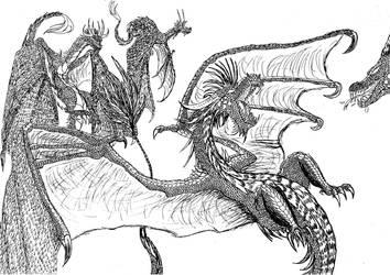 Lineart: random dragons by kxeron