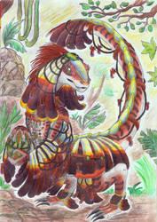 Dino priestess by kxeron