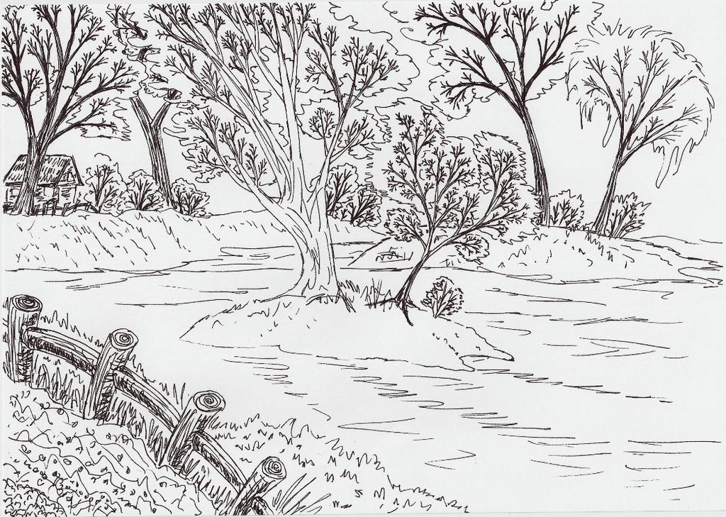 Line Drawing Landscape Artists : Lineart scenery by kxeron on deviantart