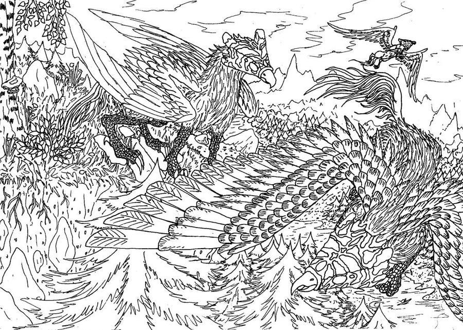Lineart: griffon beasts by kxeron