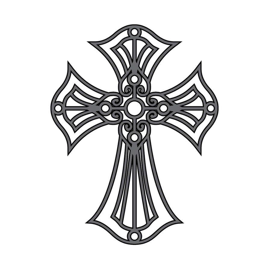 Line Art Cross : Cross tattoo version two by sythe on deviantart
