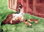 Hen is upset over a few chickens. by Zawij