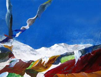 Tibetan laundry in Himalayas by Zawij
