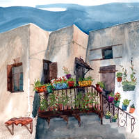 Herbs and blossom on Rhodian balcony by Zawij