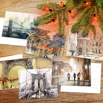 Winter wonders postcard pack - poster by Zawij