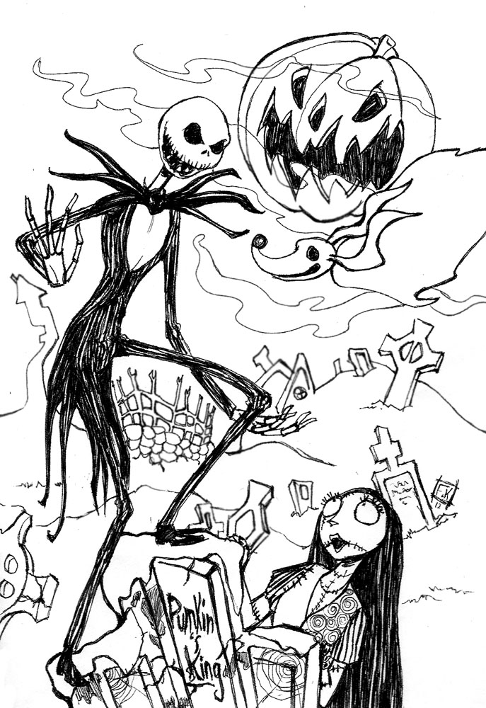 Jack skellington by clowndomain on deviantart for Jack and sally coloring pages