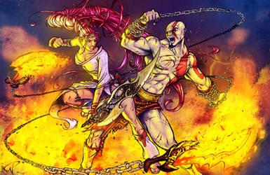 Nariko VS Kratos by Kalel06