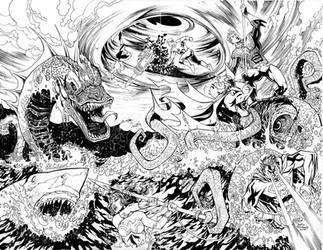 JLA vs Aquaman by davidnewbold
